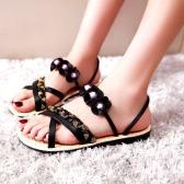 Fashion Women Flat Sandals Flower Beading Cross Woven Strap Flat Shoes