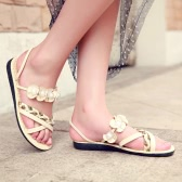 Fashion Women Flat Sandals Flower Beading Cross Woven Strap Flat Shoes