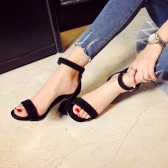 Summer Fashion Women Sandals Open Toe Ankle Strap Suede Leather High Thick Heels Pumps Shoes Black/Burgundy