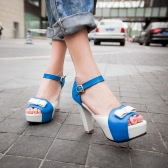 New Fashion Women Sandals Pumps Peep Toe High Block Heel Platform Bow Elegant High Heels Green/Blue/Red