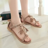 New Fashion Women Tassel Sandals Fringe Bow T-Strap Suede Flat Heel Gladiator Summer Casual Shoes