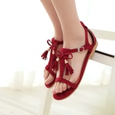 New Fashion Women Tassel Sandals Fringe Bow T-Strap Suede Flat Heel Gladiator Summer Casual Shoes