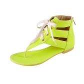 New Fashion Women Flat Sandals Candy Color Lace Up Ankle Wrap Zipper Flip Flop Summer Casual Shoes