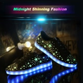 Fashion Fluorescent Stars Pattern USB Rechargeable 7 Colors LED Light Up Sneakers Shoes for Unisex
