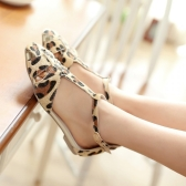 New Fashion Women Flat Sandals Leopard Print T-Strap Buckle Fastening Sexy Shoes Flats