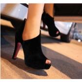 New Sexy Women Heels Cutout Peep Toe Platform Sole Shoes Pumps Black