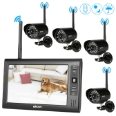 """KKMOON  Wireless 2.4GHz 7"""" TFT Digital LCD Display Monitor 4 Channel Quad DVR + 4 IR Night Vision Waterproof Camera Support  AV Output Voice Monitoring Motion Detection Recording TF Card"""