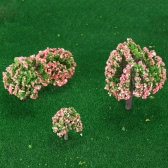 4 Pieces Plastic Model Trees Train Layout Garden Scenery White and Pink Flower Trees Diorama Miniature Peach