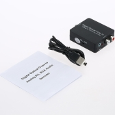 Digital to Analog Audio Decoder Converter Adapter Coaxial/Optical Toslink SPDIF to Stereo 3.5mm Jack or L/R RCA Audio Black