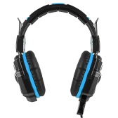 KOTION EACH G5000 Professional 3.5mm Gaming Headsets Bass Stereo Headphone Noise Cancellation Comfortable Handband with Mic Breathing LED Light Blue for Laptop Computer