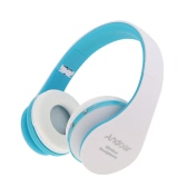 Foldable Wireless Bluetooth Stereo Headset Handsfree Headphones Mic for iPhone iPad PC White&Blue