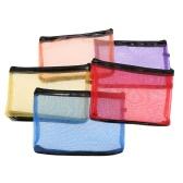 ANSELF 5pcs Ladies Makeup Bags Cosmetic bag Nylon Mesh + Zipper Design Casual Travel Storage Toiletries Bag Storage Bag Portable