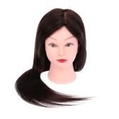 "Professional 27"" Dummy Head Hairdressing Training Head Model Clamp Dark Brown Hair"