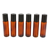 10ml Amber Glass Roll-on Bottles Essential Oil Jar Stainless Steel Roller Ball 2ml Dropper 6Pcs