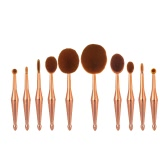 10Pcs Oval Makeup Brush Set Cosmetic Toothbrush Kit Concealer Foundation Eyeshadow Powder Blush Brush Kit Rose Gold