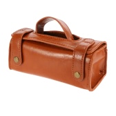 PU Leather Travel Toiletry Bag Shaving Wash Case Organizer Bag Dark Brown For Protect Shaver Shaving Gift Container