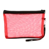 Anself Ladies Cosmetic Makeup Bags Nylon Mesh + Zipper Design Portable Casual Travel Storage Toiletries Bags Toiletry 5 Colors for Selection Red