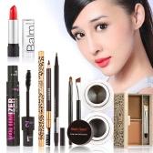 All-round 6Pcs Cosmetics Combination Pack Dual Purpose Eyebrow Pencil Eyebrow Comb Liquid Eyeliner Cream Eyeliner Lip Balm Eyebrow Powder Mascara With Makeup Bag