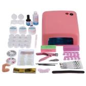 Professional Nail Art Manicure Decoration 36W Lamp UV Gel Tool Brush Remover Nail Tips Glue Acrylic Kits DIY Set