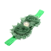 9 Colors Baby Headband Lovely Colorful Twin Flower Girl Hair Band Pearl Rhinestone Headwear Fuzzy Border Green