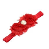 9 Colors Baby Headband Lovely Colorful Twin Flower Girl Hair Band Pearl Rhinestone Headwear Fuzzy Border Red