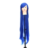 Pure Blue 1m  Long Staight Wig Anime Character Cosplay Stage Role Forehead Fringe