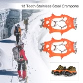 1 Pair 13 Teeth Crampons Non-slip Shoes Cover Stainless Steel Crampon Traction Device Outdoor Ski Ice Snow Hiking