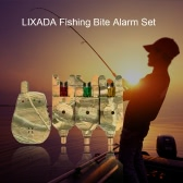 Lixada Wireless LED Fishing Alarm Alert Set with Case 3 Fishing Bite Alarms + 1 Receiver