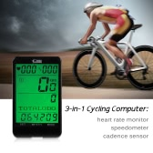 Cycle Computer Wireless Heart Rate Monitor & Cadence Sensor and Speedometer Odometer 3 in 1 Bike Computer Multifunction