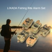 Lixada Wireless LED Fishing Alarm Alert Set with Case 4 Fishing Bite Alarms + 1 Receiver