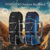 TOMSHOO キャンプバックパック 超大容量 70+5L 防撥水 登山リュック トレッキングバッグ 収納力抜群  撮影・釣り・登山・旅行・野営用 ナローバックパック  レインカバー付き
