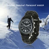 Survival Watch Paracord Survival Gear Outdoor Rescue Bracelet Tactical Military Emergency Paracord Watch with Fire Starter Whistle Compass