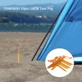 "TOMSHOO 10pcs/lot 18CM/7"" V-shape Tent Peg Camping Ultra-light Tent Stake with Reflective Rope Outdoor Traveling Tent Building Accessories"