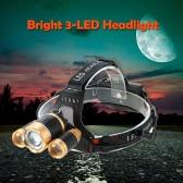Bright 3 LED Headlight Headlamp Flashlight Lamp 135° Rotating Head Flexible Focusing for Running Reading Riding Camping
