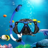 Adult Scuba Snorkeling Swimming Set Tempered Glass Diving Mask Goggles + Full Dry Snorkel Tube