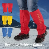 Docooler One Pair of Gaiters Outdoor Unisex Zippered Closure Wear and Water Resistant Cloth Gaiters Leggings Cover for Biking Snowboarding Hiking