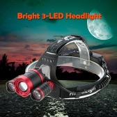 Bright 3 LED Headlight Headlamp Flashlight Lamp 135° Rotating Head Flexible Focusing for Running Reading Riding Camping