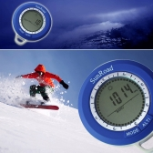 Sunroad SR108N 8 in 1 Mini LCD Backlight Digital Altimeter Climb Rate Barometer Thermometer Compass Weather Forecast Time Outdoor Waterproof Multi-function with Carabiner