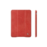Magnetic Smart Cover Protective Case for iPad mini Wake-up Sleep Vintage Genuine Cow Leather Red