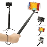 Extendable Wireless Bluetooth Remote Shutter Shooting Control Handheld Selfie Self-Timer Pole Monopod for GoPro SJCAM Mirrorless Card Camera with Adjustable Phone Holder for iPhone Samsung with IOS 4.0 Andriod 4.1 System or above