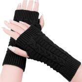Fashion Women Ladies Winter Gloves Fingerless Knitted Warm Short Mittens