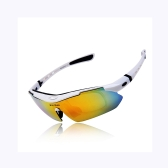 UV400 Polarized Sunglasses Safety Eyewear Goggle for Bicycle Riding Open-air Activities Detachable Universal 5 Lens White
