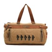 Vintage Men Women Canvas Bag Large Capacity Travelling Luggage Bag Unisex Satchel Shoulder Bag Khaki
