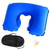 3in1 Travel Office Set Sleeping Eye-shade Eye Mask Patch+Inflatable U Shaped Pillow Neck Air Cushion+Noise-canceling Earplugs Comfortable Business Trip