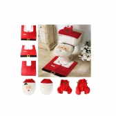 3pcs The Santa Claus Toilet Seat Cover Rug Bathroom Set Christmas Decoration