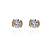 1Pair Clear Crystal Zircon 18K Gold Plated Ear Stud Earring Jewelry Gift for Women Lady