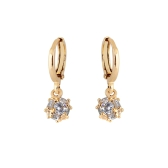 1Pair Clear Crystal Zircon 18K Gold Plated Vintage Retro Square Drop Dangle Earrings Pendant Jewelry Gift for Women Lady