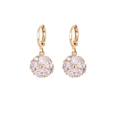 1Pair Clear Crystal Zircon 18K Gold Plated Elegant Round Flower Petal Drop Earrings Pendant Jewelry Gift for Women Lady