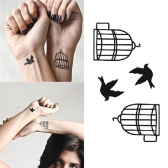 Tattoo Sticker Birds and Birdcage Pattern Waterproof Temporary Tattooing Paper Body Art