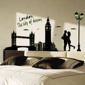 Removable Luminous Wall Sticker London Clock Tower Fluorescent DIY Wallpaper Art Decals Mural for Room Decal 60 * 90cm